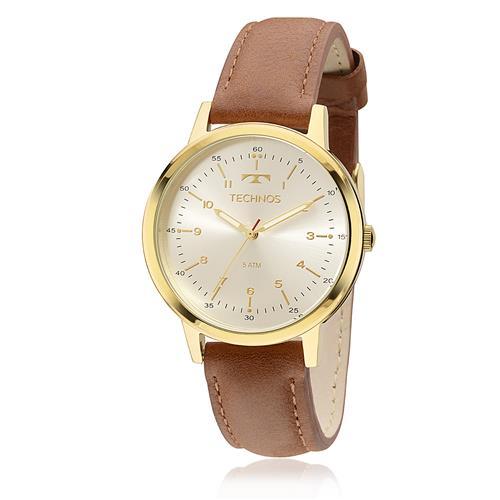 Relógio Feminino Technos Elegance 2035MFM 0K Dourado couro Marrom 9cccf54c8e