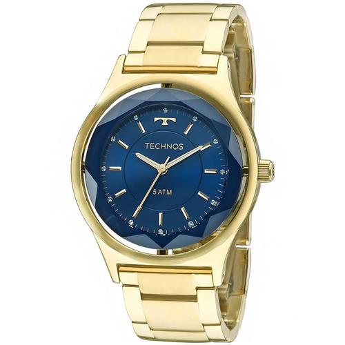 26aef4456e4 Relógio Feminino Technos Elegance Crystal 2035MIC 4A Fundo Azul