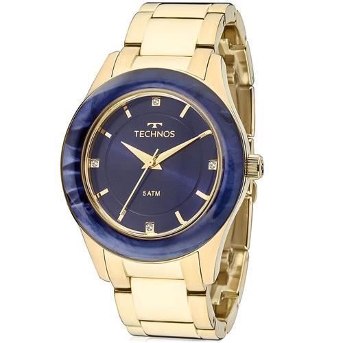 c74d84f95fd Relógio Feminino Technos Elegance St. Moritz 2036MGK 4A Fundo Azul
