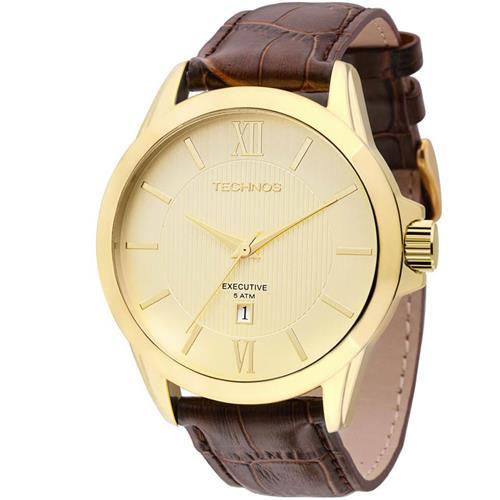 Relógio Masculino Technos Classic 2115KNH 0X Couro Marrom   Joias Vip 23c9606972