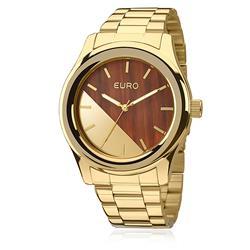 Relógio Feminino Euro Madeira Analógico EU2036MAA/4M aço dourado