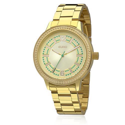 Relógio Feminino Euro Folk Analógico EU2036LZK/4D Dourado com cristais