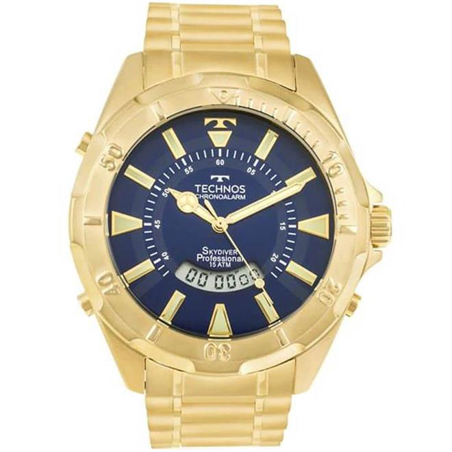 Relógio Masculino Technos Performance Skydiver T205FL 4A Dourado ... 091f166f94