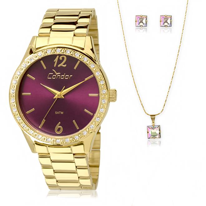 Relógio Feminino Condor Analógico CO2035KOL K4T Kit com Colar e Par de  Brincos. Ampliar 1ca821fdf1