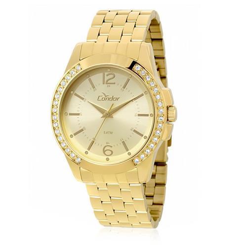 Relógio Feminino Condor Analógico CO2035KOU/4D Dourado com cristais