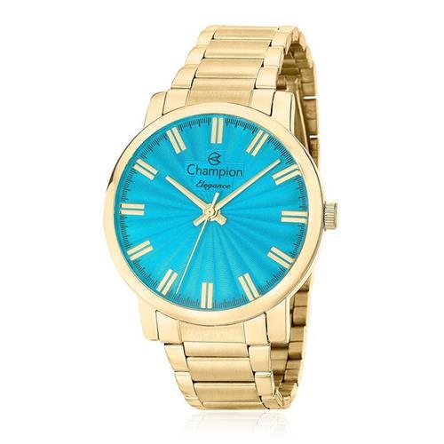 Relógio Feminino Champion Elegance CN26037F Fundo Turquesa