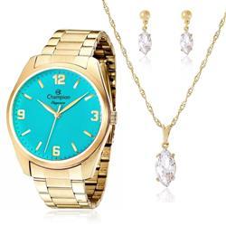 Relógio Feminino Champion Elegance CN26046Y Kit Colar e Par de Brincos