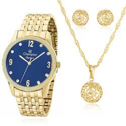 495ff09399c Relógio Feminino Champion Elegance CN26082K Kit Colar e Par de Brincos