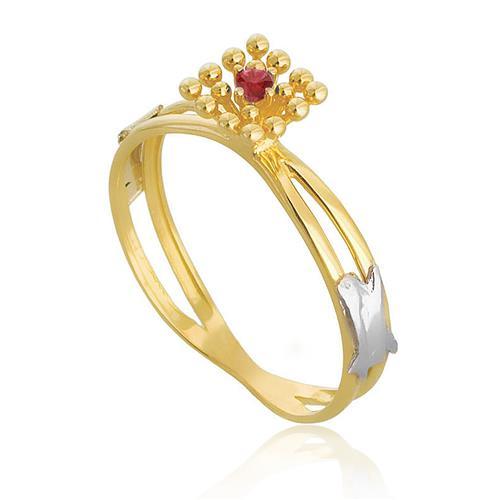 Anel em ouro amarelo com Rubi no centro, aro duplo
