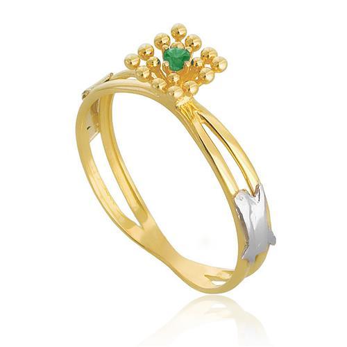 Anel em ouro amarelo com Esmeralda no centro, aro duplo