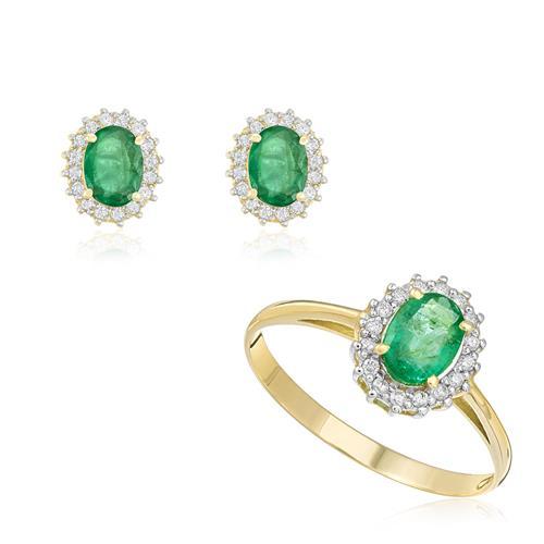 Conjunto Anel e Par de Brincos de Esmeraldas com Diamantes, em Ouro Amarelo
