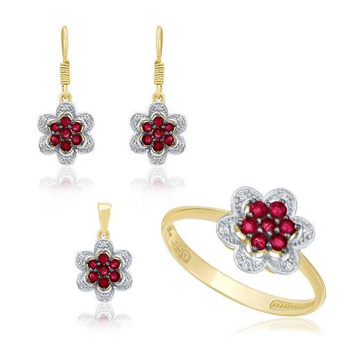 Conjunto floral de Rubis com Diamantes em ouro amarelo