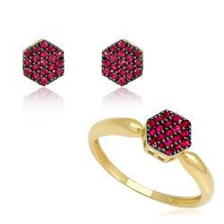 Conjunto par de brincos e anel com Rubis em ouro amarelo