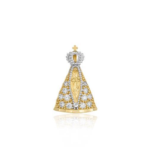 Pingente Nossa Senhora Aparecida com Safiras brancas em ouro amarelo
