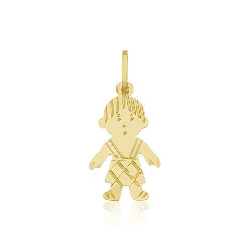 Pingente Menino oriental em ouro amarelo