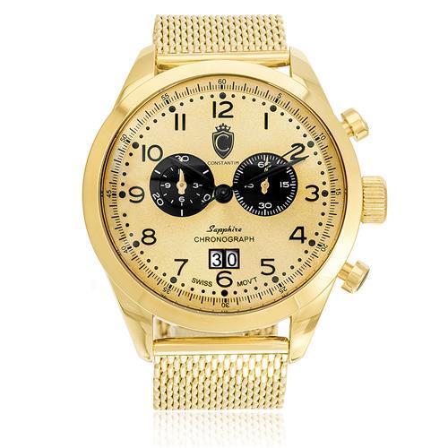 3baa6bae251 Relógio Constantim Chronograph Sapphire All Gold ZW20029G Pulseira Esteira