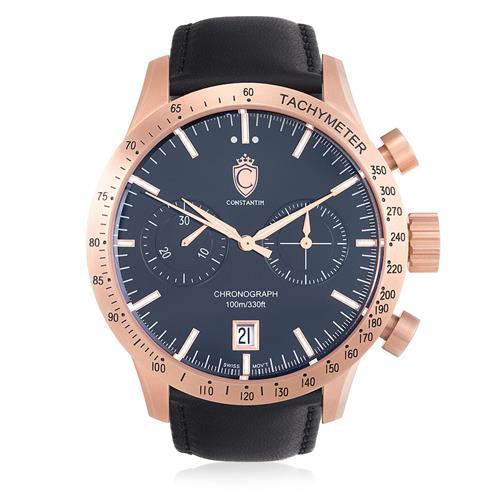Relógio Constantim Diplomat First Class Sport Rose Black ZW30223P Couro
