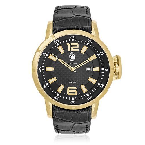 f800e53bcbd Relógio Constantim Lucern Executive Gold Black ZW30205U Couro