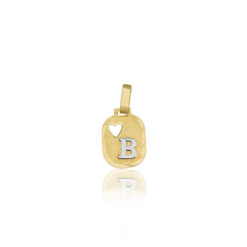 Pingente Chapinha com a latra B em ouro amarelo