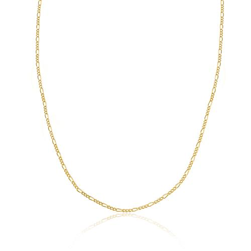 Corrente Feminina Elos Figaro 50 cm, em Ouro Amarelo