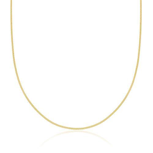 Corrente Feminina elos Grumet com 45 cm, 1 grama em Ouro Amarelo