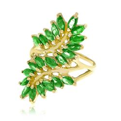 Anel Folhas com 22 Esmeraldas, em Ouro Amarelo