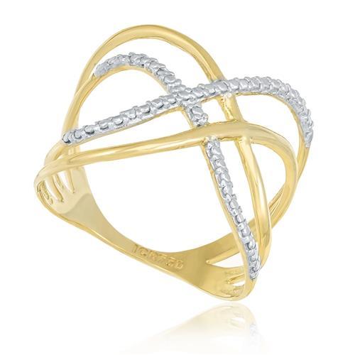 Anel Estilizado com Efeito Diamantado em Ouro Amarelo com detalhe em Ródio