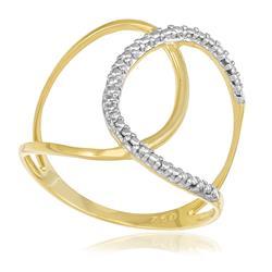 Anel estilizado com efeito diamantado em ouro amarelo com detalhe em rodhio