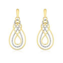Par de Brincos estilo Infinito com 60 Pts de Diamantes, em Ouro Amarelo