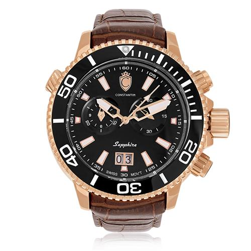 Relógio Constantim Marine Scub Diver Rose Black ZW30269P Couro Marrom