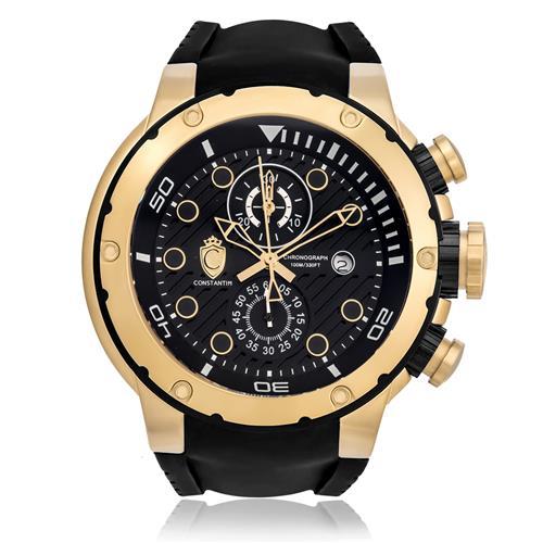 060372a98a0 Relógio Constantim Chronograph Gold Black ZW30232U Borracha