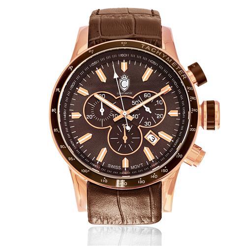 Relógio Constantim Rose Brown ZW30241R Couro Marrom