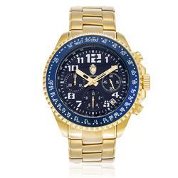 Relógio Constantim Chronograph Gold Blue ZW30198A Fundo Azul