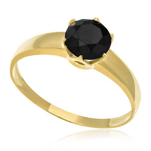 Anel de Ouro Solitário com Diamante Negro de 2,0 Cts