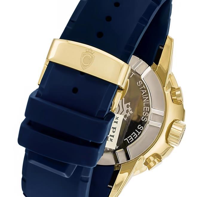 b86a5c49d89 Relógio Masculino Constantim Marine Diver ZW30250A Gold Blue Borracha.  Ampliar