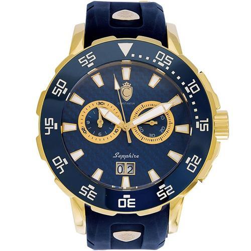 6f89ece7bfc Relógio Masculino Constantim Marine Diver ZW30250A Gold Blue Borracha
