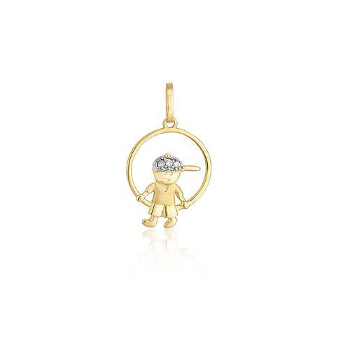 Pingente Menininho com 3 Diamantes em Ouro Amarelo