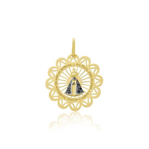 Pingente Nossa Senhora com Safiras e Ródio Negro, em Ouro Amarelo