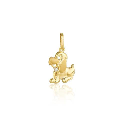 Pingente Cachorro com Diamante, em Ouro Amarelo