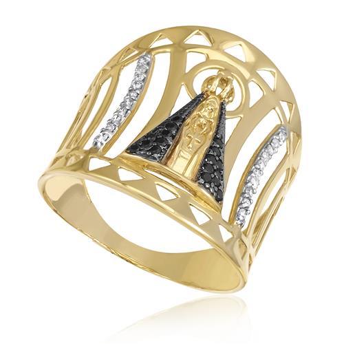 560ef6d4418e7 Anel Nossa Senhora Aparecida com 20 Diamantes e 18 Safiras