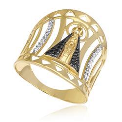 Anel Nossa Senhora Aparecida com 20 Diamantes e 18 Safiras, em Ouro Amarelo