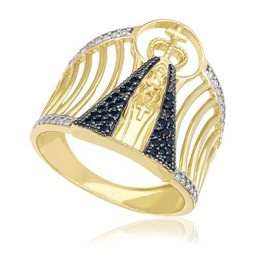 Anel Nossa Senhora Aparecida com 40 Diamantes e 30 Safiras, em Ouro Amarelo