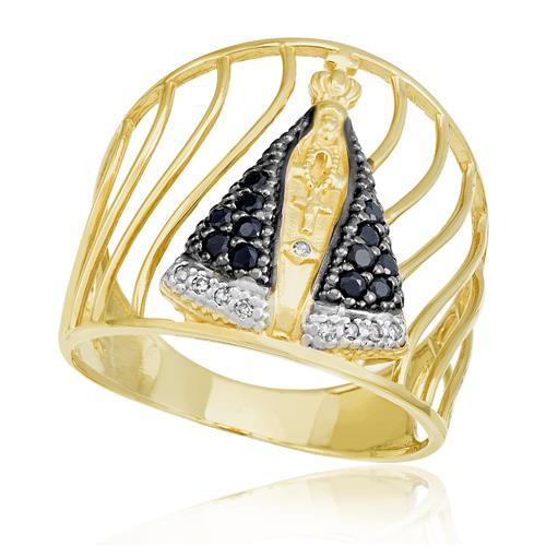 Anel Nossa Senhora 12 Safiras e 9 Diamantes, em Ouro Amarelo