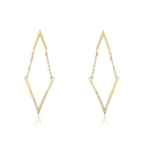 Par de Brincos em V com 42 Pts em Diamantes, em Ouro Amarelo