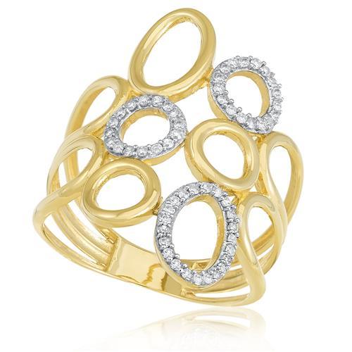 Anel com Círculos Vazados e 55 Diamantes, em Ouro Amarelo