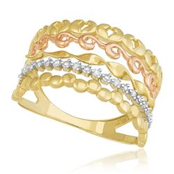Anel Estilizado com 9 Diamantes e Ouro 3 Cores
