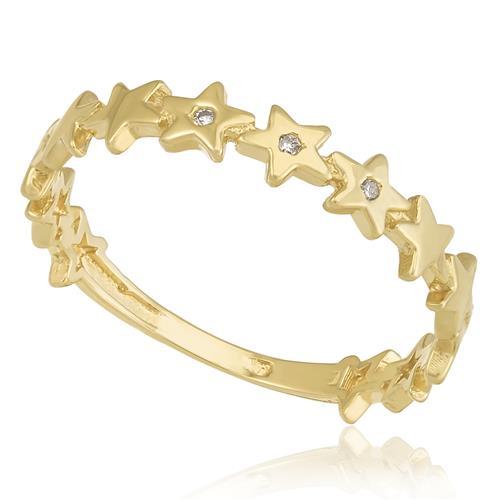 Anel Estrelas com 3 Diamantes, em Ouro Amarelo