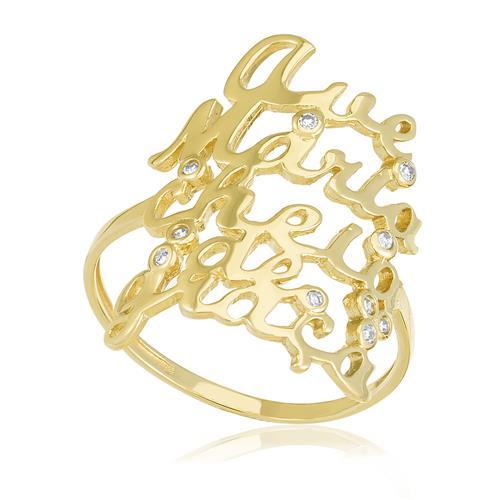 Anel Ave Maria com 10 Pts em Diamantes, em Ouro Amarelo