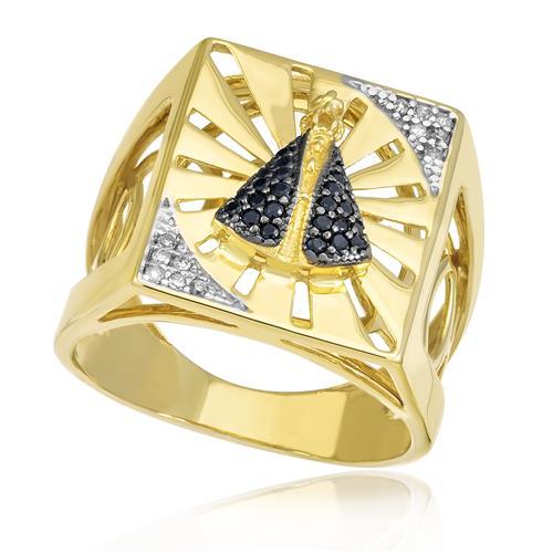 aa58e13430387 Anel Nossa Senhora Aparecida com 24 Safiras e 12 Diamantes