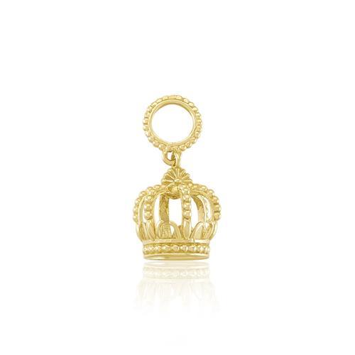 Pingente Coroa com Esferinhas, em Ouro Amarelo